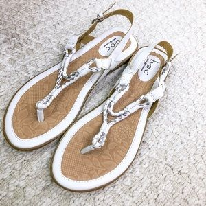 Born Concept white leather sandals